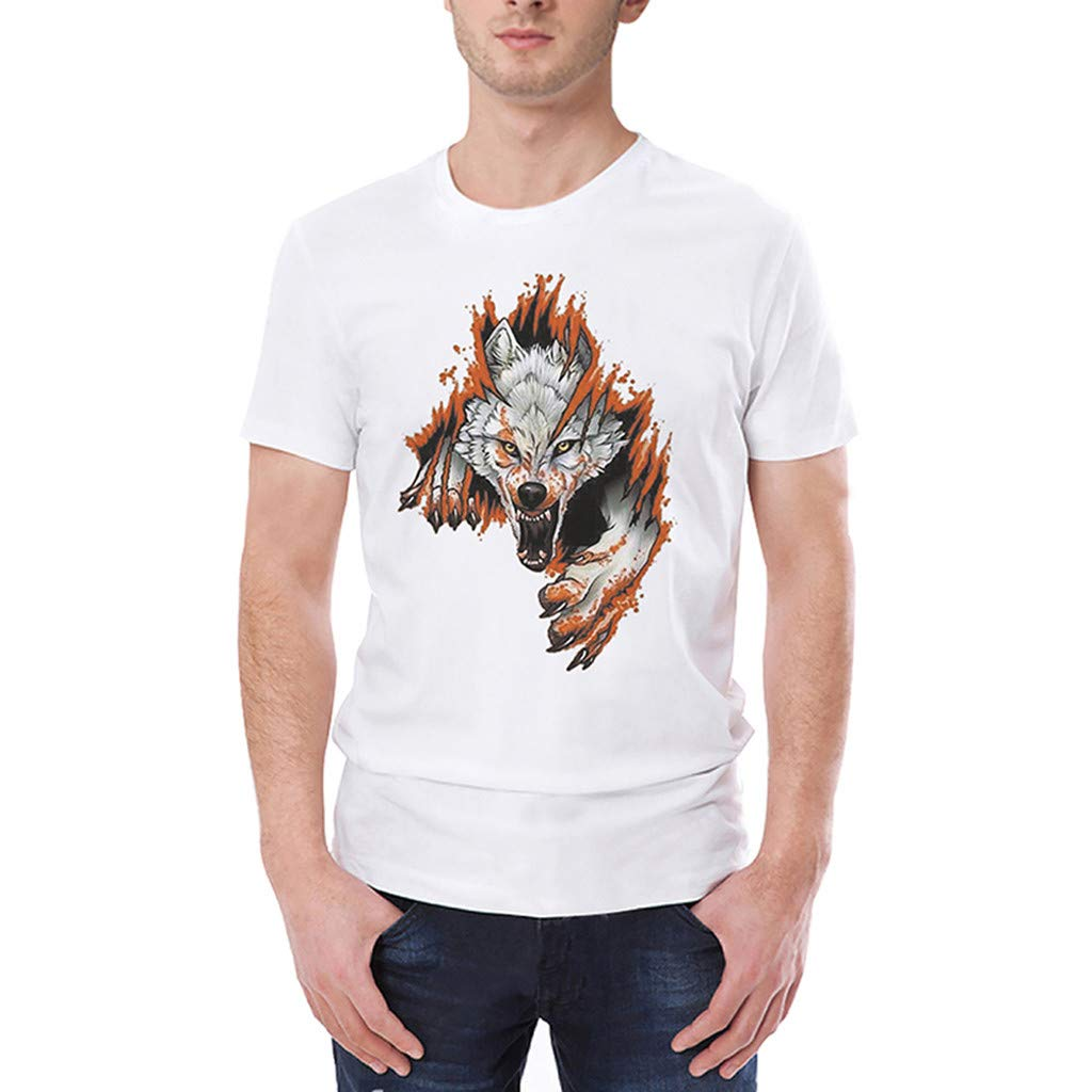 Pervobs Men's Basic White T-Shirt Spring Summer Personality Printing Sleeve O-Neck Short T-Shirt Top Blouse Regular Fit(M, White B) by Pervobs Mens T-Shirts (Image #1)