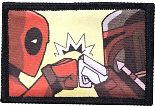 DeadPool Boba Fett Morale Patch. Perfect for your Tactical Military Army Gear, Backpack, Operator Baseball Cap, Plate Carrier or Vest. 2x3 Hook and Loop Patch. Made in the USA