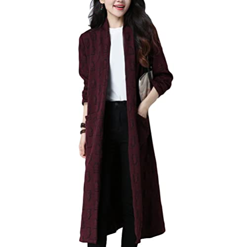 Zhuhaitf Moda para Mujer Fashion Design Printed Jackets Cotton Linen Long Sweater Pocket Cardigan fo...