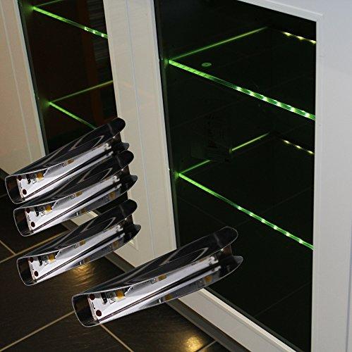 LED Glaskantenbeleuchtung 4-er Komplettset / Glasbodenbeleuchtung / warm weiß / Art. 2275-4 / LED Clip / Metall / Vitrinenbeleuchtung / Glasplattenbeleuchtung