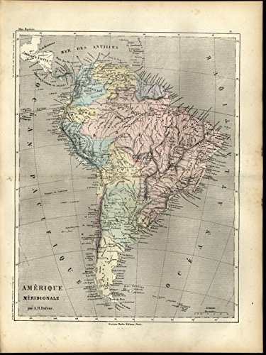 (South America Patagonia Brazil Bolivia c.1860 antique engraved hand color map )