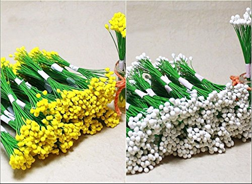 200White & Yellow Double Sided Flower Stamen Wire wrapped Craft DIY Card Making by ChangThai - Design Sunglasses Your Frames Own