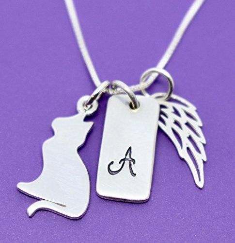 Personalized Initial Cat Pet Memorial Jewelry Furbaby Angel Gift Pet Memorial Necklace