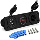SQDeal 12V Universal 3 in 1 Cigarette Lighter Socket Dual USB Power Adapter Charger LED Digital Voltmeter for Car Auto Motorcycle Boat Riding Mower Tractor Travel Trailer Caravan