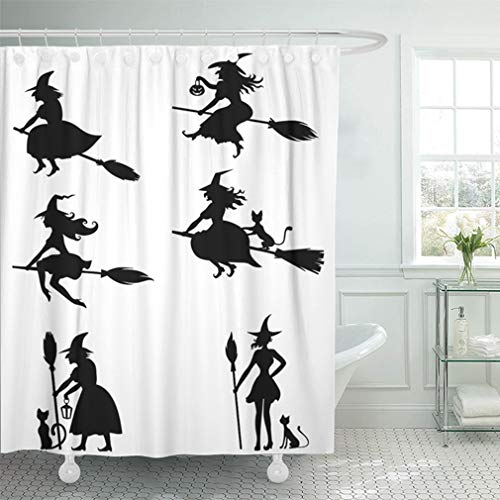 Emvency Shower Curtain 66x72 Inch Home Decor Bathroom Witch of Silhouette Black and White Halloween Witches Animation Cat Scary Witchcraft Shower Hooks Set are Included