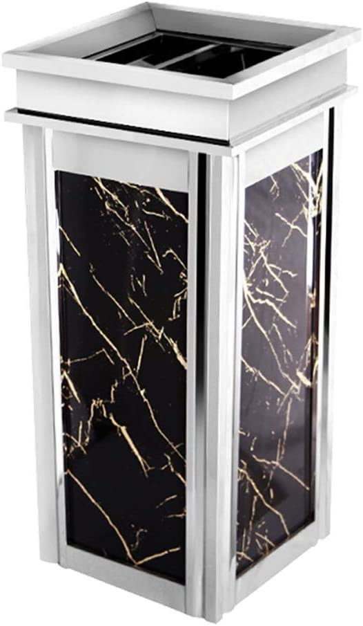 商業ゴミ箱 ステンレス鋼の正方形のごみ箱のホテルのモールのエレベーターの金属製のごみ箱の灰皿の大理石の穀物の微結晶性の版の出現 屋外のゴミ箱 (Color : Silver-a)