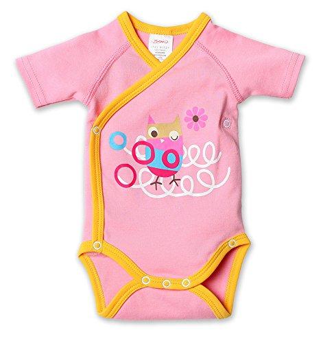 Zutano Baby-girls Infant Owls Screened Short Sleeve Body Wrap, Hot Pink, 6 Months