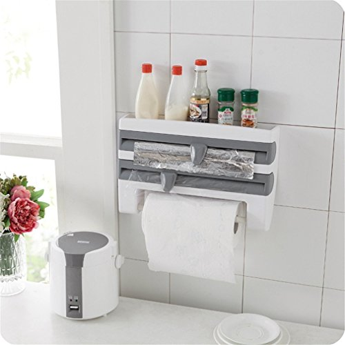 TraveT Wall-Mount Paper Towel Roll Holder, Plastic Wrap and Foil Dispenser Cutter with Spice Rack -