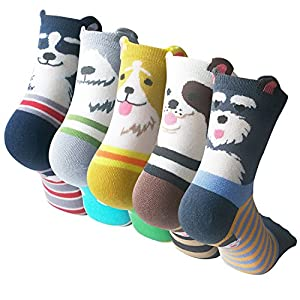 Womens Cute Animal Painting Socks, Funny and Cool 100% Cotton Art Dog Socks for Women