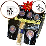 3dRose All Smiles Art - Birds - Cute Funny Penguin Drinking Red Wine Cartoon - Coffee Gift Baskets - Coffee Gift Basket (cgb_292477_1)