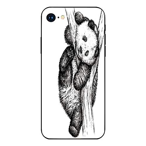 Phone Case Compatible with iphone7 iphone8 mobile phone covers phone shell Brandnew Tempered Glass Backplane,Animal Decor,Cute Little Panda Bear on Tree Branch Fury Tropical Jungle Zoo Sketchy Print,B