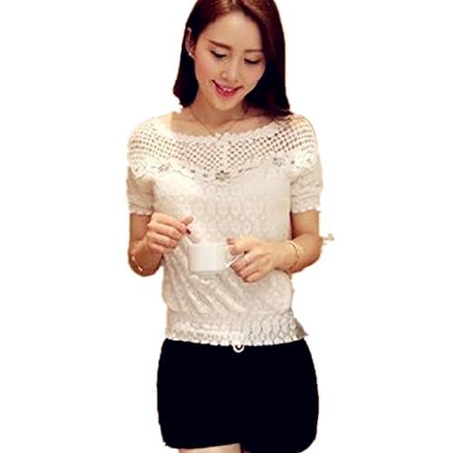 La mujer de moda de verano de manga corta camisa de encaje gasa blusa Casual Tops
