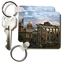 3dRose 8 x 8 x 0.25 Forum, Rome, Italy, EU16 DBN0183, David Barnes Key Chains, Set of 2 (kc_82106_1)