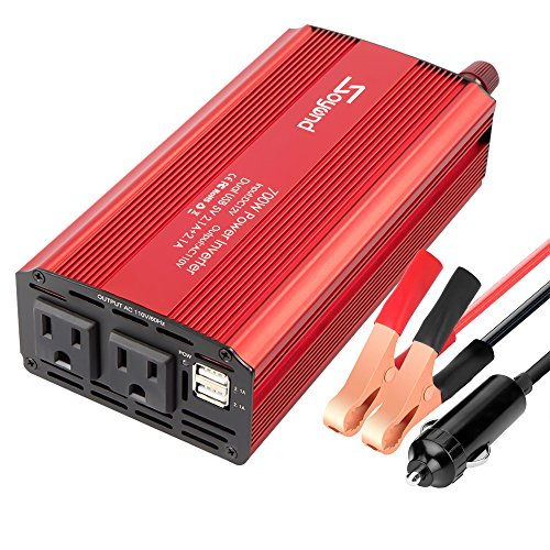 - Soyond 700W Car Power Inverter-DC 12V to 110V AC Charging Port Converter Car Charger Adapter 4.2A Dual USB Ports (Red_700W)