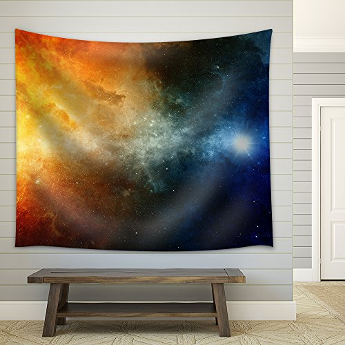 Scientific Background Big Red Star Nebula in Deep Space Fabric Wall