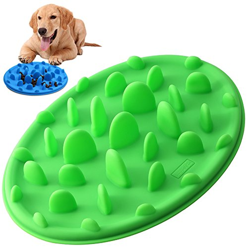 (PETBABA Dog Bowl Slow Feeder, Interactive Puzzle Fun Silicone Nonskid Feed Dish, Against Bloat in Eating Food, Keep Your Cat Pet Healthy - S in Green )