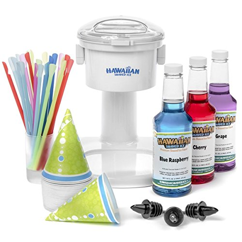 S700 Snow Cone Machine, 25 Snow Cone Cups, 25 Spoon Straws, & Black Bottle Pourers | Snow Cone Machine and Syrup Party Package by Hawaiian Shaved - Sno Machine Snoopy Cone