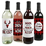 : Prancing Plaid - Christmas & Holiday Buffalo Plaid Wine Bottle Labels - Set of 4