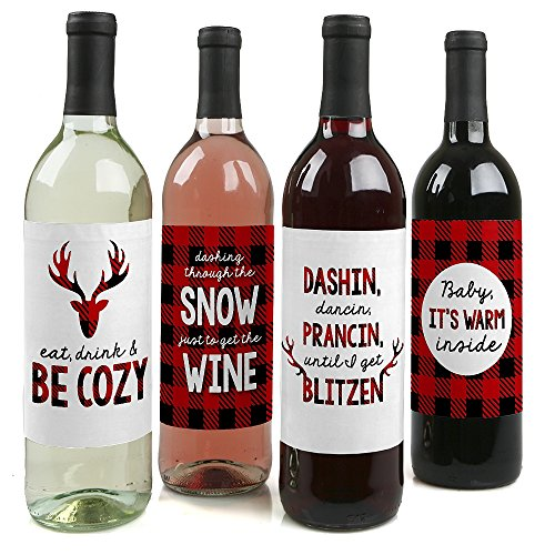 Prancing Plaid - Christmas & Holiday Buffalo Plaid Wine Bottle Labels - Set of 4 (Flannel Label)