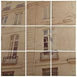 Modern 9-Piece Mural of White Paris Building on Wood, 36'' x 36''