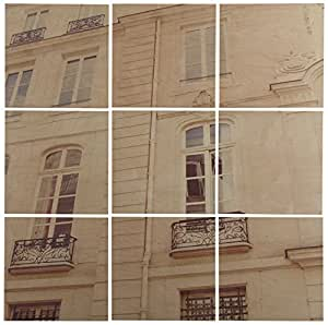 "Modern 9-Piece Mural of White Paris Building on Wood, 36"" x 36"""