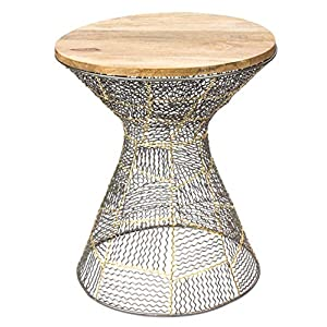Red Fig Home Accent Side End Table Metal Wire Decorative with Zinc Gold Finish and Wooden Top for Bedside Living Room…