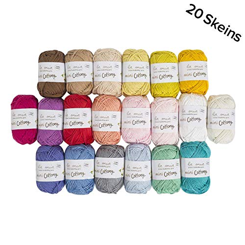 20 Skein %100 Cotton Mini Yarn, Total 17.6 Oz Each 0.88 Oz (25g) / 65 Yrds (60m), Light, Dk, Worsted Assorted Colors Yarn ()
