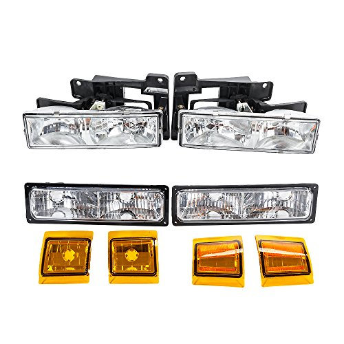 8Pcs Headlight Assembly Parking Light Corner Reflectors Lights for Chevrolet 1990 1991 1992 1993 C1500 & C2500 & C3500 & K1500 & K2500 & K3500 92-93 Blazer & C/K 1500 2500 Suburban Truck