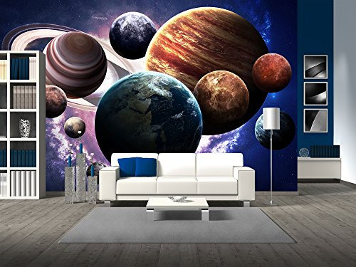 wall26 - High Resolution Images Presents Planets of the Solar System. - Removable Wall Mural | Self-adhesive Large Wallpaper - 100x144 inches by wall26