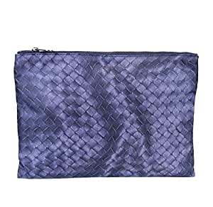 a3cb0526f689 Amazon.com: Bottega Veneta Blue Pouch Intrecciolusion Nylon Cosmetic ...