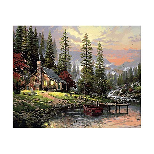 (Frame Field House Landscape DIY Painting by Number Handpainted Oil Painting Wall Art Picture for Home Decoration 40X50Cm)