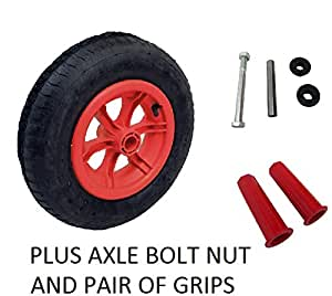 "RED SPOKED + AXLE wheelbarrow / Trolley Wheel Pneumatic 16"" Tyre 4.80/4.00-8 WITH 25MM GRIPS"