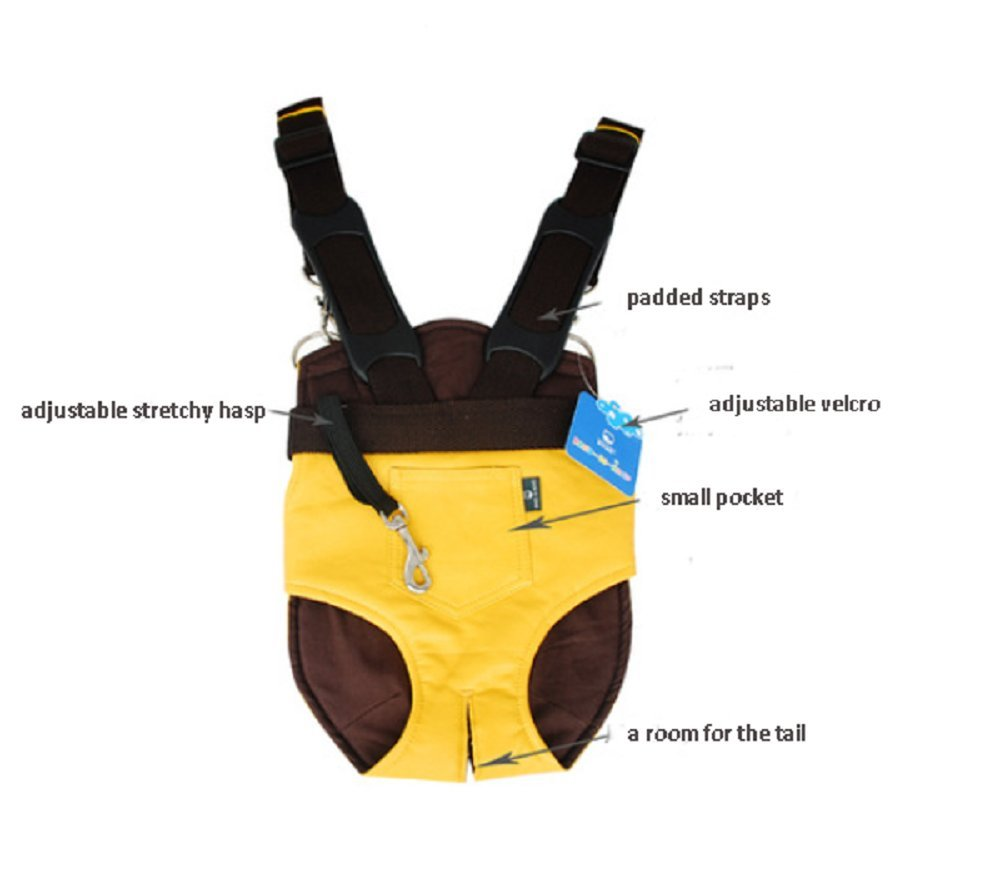 Strimm Comfort Legs Out Front Facing Backpack Style Pet Shoulder Carrier Bag for Small Dog Puppy Cat Kitten,Great for Travel,Hiking,Biking-Yellow Size L