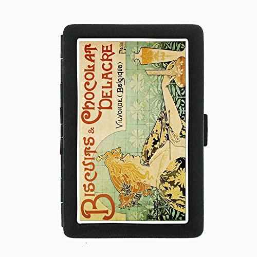 Perfection In Style Black Color Metal Cigarette Case D-055 Biscuits & Chocolat Delacre