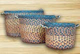 Basket Utility / Storage - Set of 3 Braided Jute with Handles (56-UB-06)