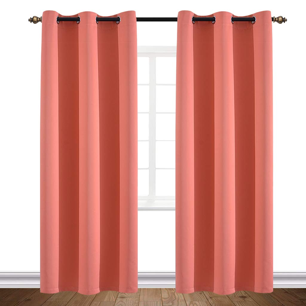 Yakamok Living Room Blackout Curtains Room Darkening Thermal Insulated Decorative Curtain Panels with Drapes Solid Grommet Top(Set of 2 Panels 42x84 Inch Coral)