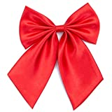 Ladies Girl Bowknot Bow Tie - Adjustable Pre-tied Solid Color Handmade Bowties for Women Costume Accessory (Hot Red)
