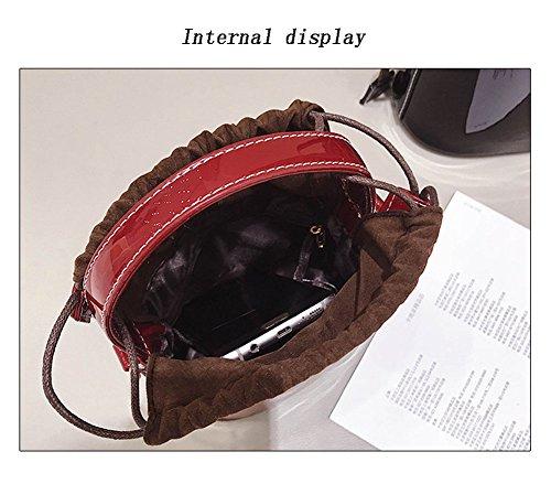 Modische Handtaschen Schultertaschen Retro Modische Drawstring Bucket Bags,Red Purple