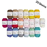 20 Skein%100 Cotton Mini Yarn, Total 17.6 Oz Each 0.88 Oz (25g) / 65 Yrds (60m), Light, Dk, Worsted Assorted Colors Yarn