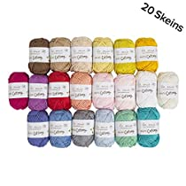 20 Skein%100 Cotton Mini Yarn, Total 17.6 Oz Each 0.88 Oz (25g) / 65 Yrds (60m), Light, Dk, Worsted AssortedColors Yarn
