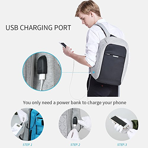 Oscaurt Anti-theft Travel Backpack Business Laptop School Book Bag with USB Charging Port, Water Resistant Students Work Men & Women Daypack Grey by oscaurt (Image #4)