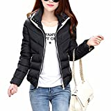 Sexyshine Women's Winter Ultra Lightweight Packable Hooded Puffer Down Jacket Quilted Short Warm Outdoor Coat (XXX-Large, Black)