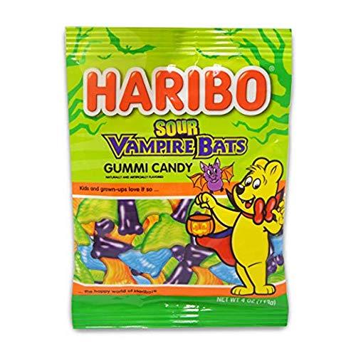 Halloween Candy Bats (Haribo Sour Vampire Bats Halloween Gummy Candy, 4 oz)
