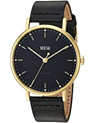 Vestal The Sophisticate Quartz Stainless Steel and Leather Dress Watch, Color: Black (Model: SPH3L05)