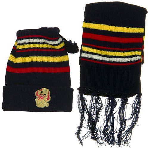 Infant Knit Beanie and Scarf Set - Navy