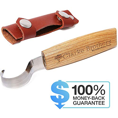 (Wood Carving Hook Knife Crooked Tool Set for Carving Spoons with Leather Cover Sheath for Woodworking)