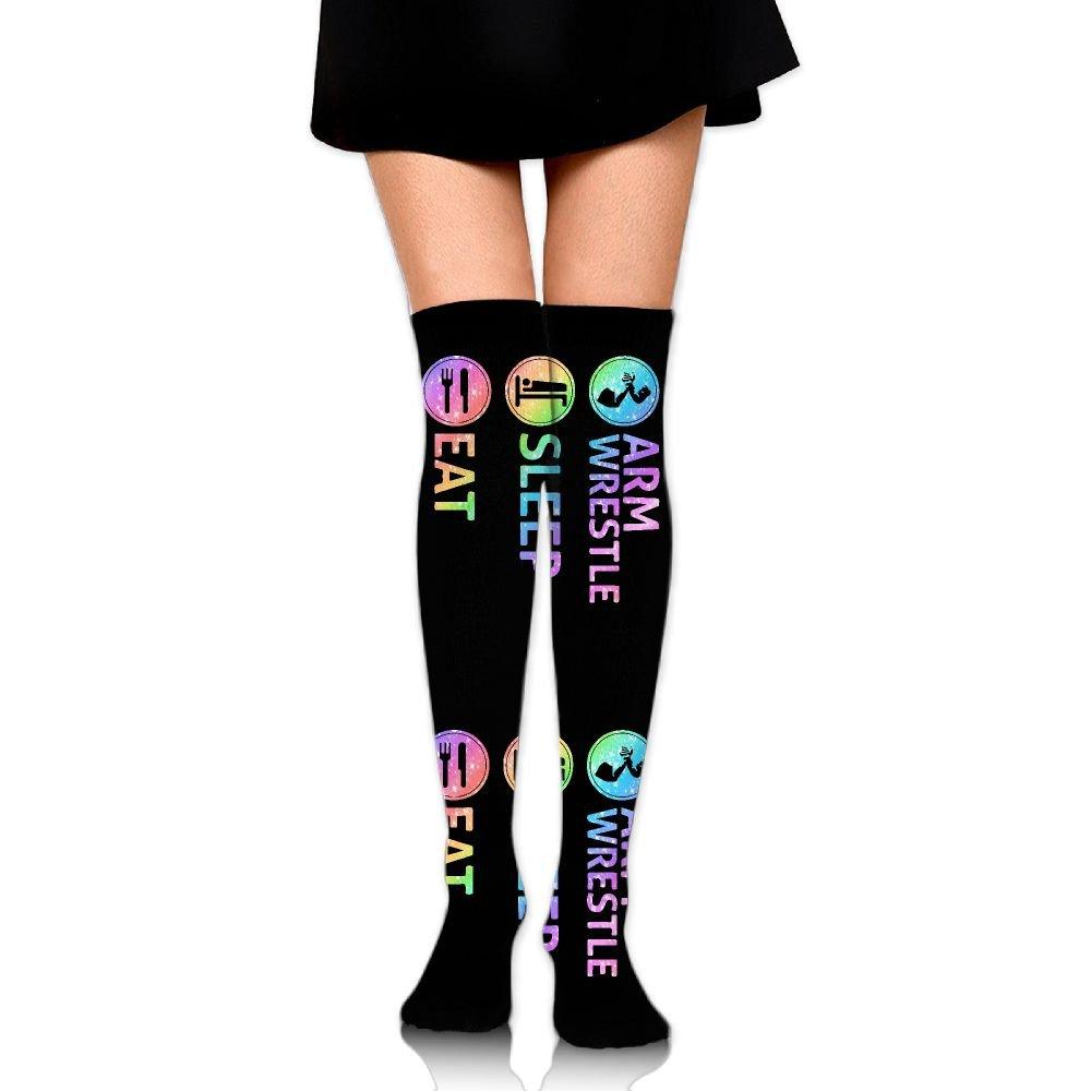 Eat Sleep Arm Wrestling Unisex Over Knee High Socks Extra Long Athletic Sport Tube Socks