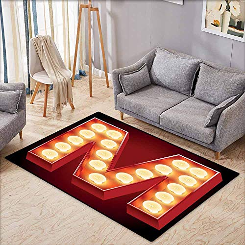 Indoor/Outdoor Rug,Letter M Vintage Alphabet Collection of Old Movie Theaters Casinos Retro Type,Anti-Slip Doormat Footpad Machine Washable,3'3