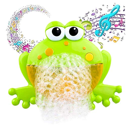 XJunion Musical Frog Baby Bath Bubble Toy Automatic Bubble Blower, Upgraded Bubble Machine Fun Bathtub Bubble Toys - for Baby Kids Boys Girls Cute Bath Toys Gifts(12 Music Song)