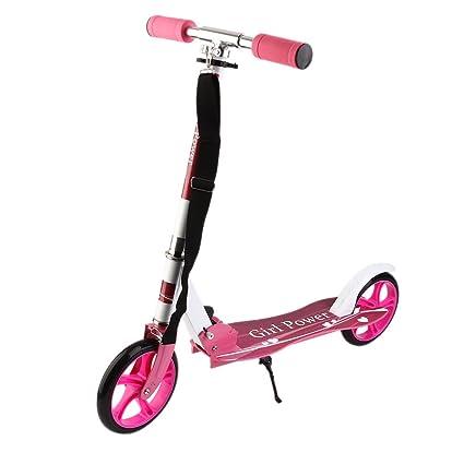 Homgrace Patinete Plegable con 2 Ruedas, Scooter Patinete Altura Ajustable y Carga 100KG para Niños (Rosa)